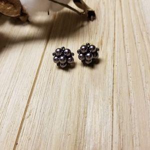 So cute black pearl and black rhinestone earrings